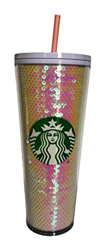 Starbucks Starbucks Pink & White Sequin Glitter Cold Cup Tumbler Holiday 2020 - 24oz