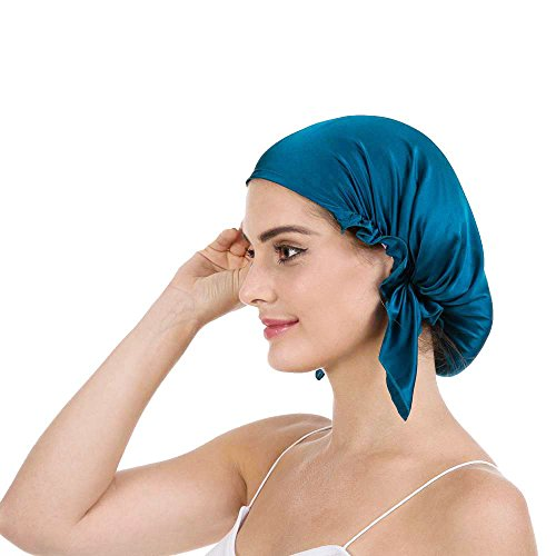 Savena - Savena 100% Mulberry Silk Night Sleeping Cap X-Large Size for Thick and Long Hair Bonnet Hat Smooth Soft Many Colors, Hair Care Ebook Included (Blue)