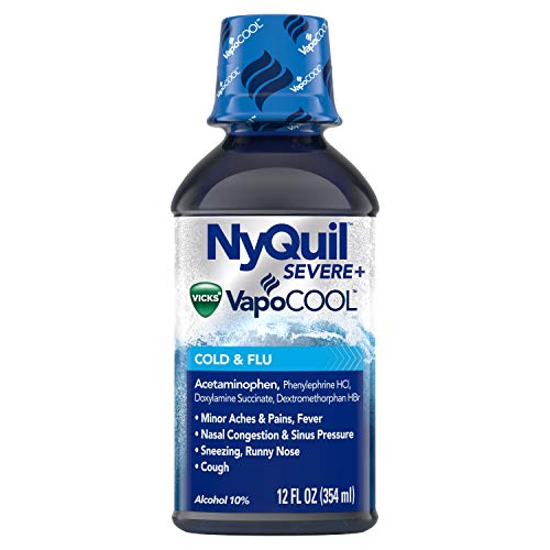 Vicks Vicks NyQuil SEVERE with VapoCOOL Nighttime Cough, Cold and Flu relief liquid, 12 Fl Oz, Berry