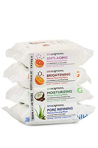 Spascriptions - Makeup Cleansing Wipes 30 CT, Variety 4 pack