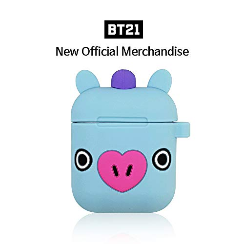 BT21 - BT21 Official Silicone Airpods Case, Full Protective Cover Compatible with Apple AirPods, Carabiner Included