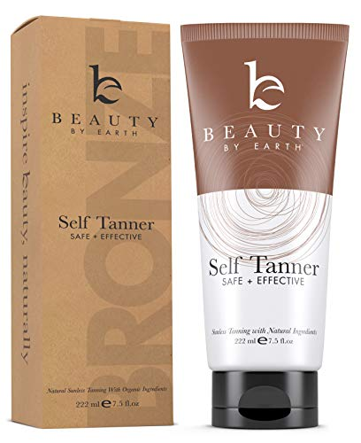 Beauty by Earth - Self Tanner - Organic and Natural Ingredients Sunless Tanning Lotion and Best Bronzer Golden Buildable Light, Medium or Dark Gradual Tan for Body and Face, 7.5 oz