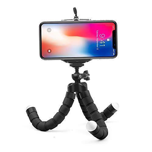 Angelstore Live Tripods - Mini Flexible Sponge Octopus Tripod for iPhone Samsung Xiaomi Huawei Mobile Phone Smartphone Tripod for Camera Accessory (Black)