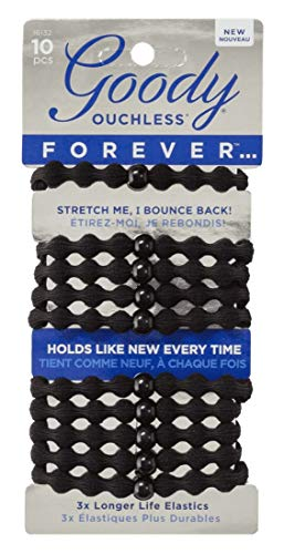 Goody - Goody #16132 Ouchless Forever Elastics 10 Count Black (Pack of 3)