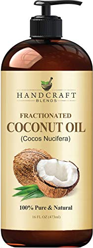 Handcraft Blends - Fractionated Coconut Oil – 100% Pure & Natural Premium Therapeutic Grade – Huge 16 OZ - Coconut Carrier Oil for Aromatherapy, Massage, Moisturizing Skin & Hair