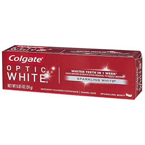 Colgate - Colgate Optic White Teeth Whitening Toothpaste, Sparkling White, Sparkling Mint, Travel Size 0.85 Ounces - Pack of 12