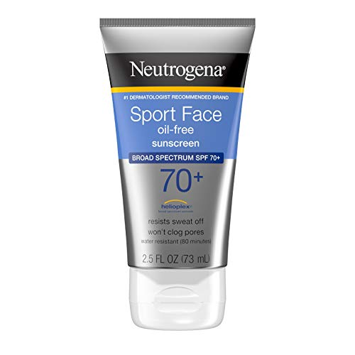 Neutrogena - Neutrogena Sport Face Sunscreen, Oil-Free Sunscreen Lotion with Broad Spectrum UVA/UVB SPF 70+ Protection, Sweat-Resistant & Water-Resistant Active Sport Sunscreen, 2.5 fl. oz