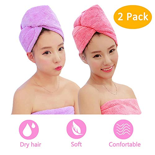 ADOGO - ADOGO Hair Towels Wrap 2 Pack,Microfiber Hair Towel Twist Cap Soft Absorbent Quickly Dry Hair Turban for Kids and Women (Pink+Purple)