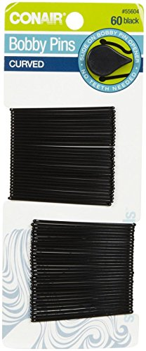 Conair - Conair Bobby Pins, Curved, Black 60 Pins (Pack Of 6)