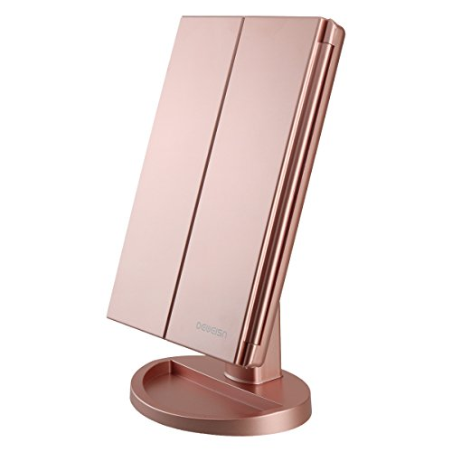 DeWEISN - RICHEN DeWEISN Tri-Fold Lighted Vanity Makeup Mirror with 21 LED Lights, Touch Screen and 3X/2X/1X Magnification Mirror, Two power Supply Mode Tabletop Makeup Mirror,Travel Cosmetic Mirror (Rose Gold)