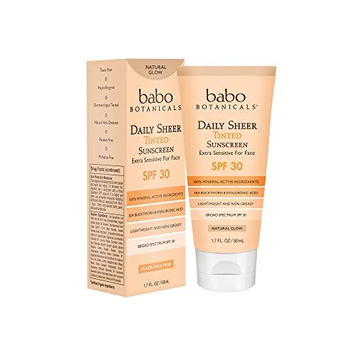 Babo botanicals - Babo Botanicals Daily Sheer Moisturizing Mineral Tinted Sunscreen SPF 30, Natural Glow with Organic Ingredients, Fragrance-Free - 1.7 oz.