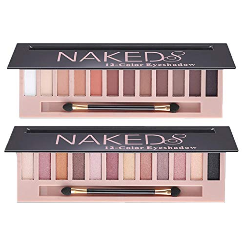 Bestland - Makeup Naked Eyeshadow Palette 12 Color Natural Nude Matte Shimmer Glitter Pigment Eye Shadow Pallete Set Waterproof Smokey Professional Cosmetic Beauty Kit BESTLAND (2 PCS)