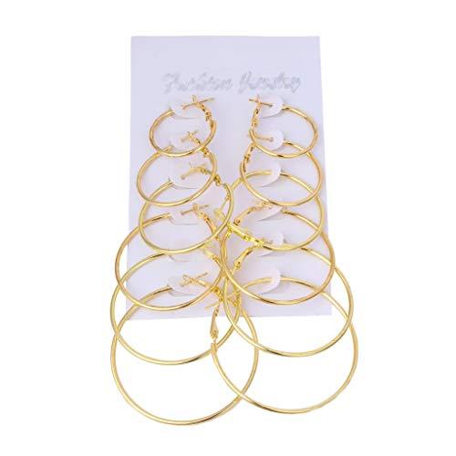 hibyebuying - hibyebuying 6Pairs/set Hoop Earrings, Vintage Dangle Big Circle Hoop Earrings Steampunk Ear Clip For Women (Gold)