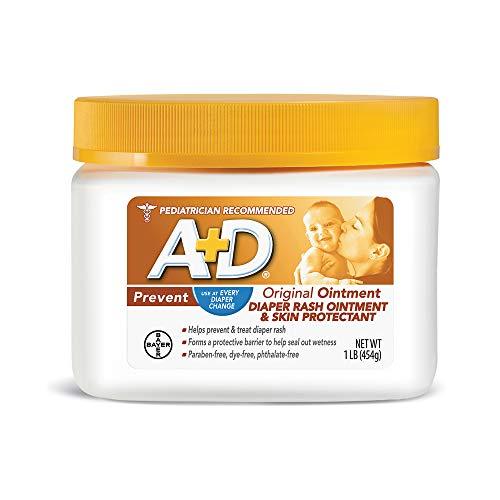 A&D - A+D Original Diaper Rash Ointment, Skin Protectant With Lanolin and Petrolatum, Seals Out Wetness, Helps Prevent Baby Diaper Rash, 1 Pound Jar.