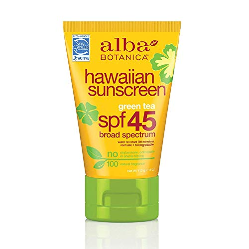 Alba Botanica - Alba Botanica Hawaiian Sunscreen, Revitalizing Green Tea SPF 45 4 oz (Pack of 12)