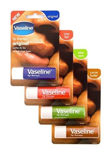 Vaseline - Vaseline Lip Therapy Stick with Petroleum Jelly (Original, Aloe Vera, Rosy Lips, Cocoa Butter)- 4pk
