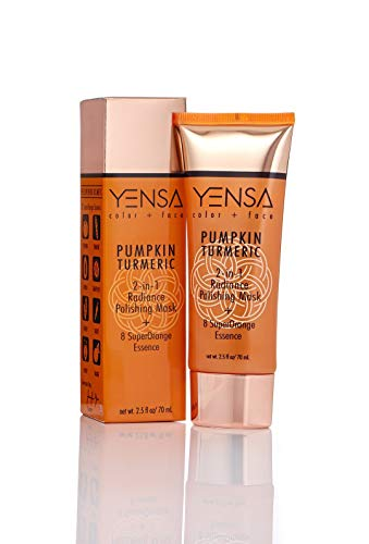 YENSA color + face YENSA PUMPKIN TURMERIC 2-in-1 Radiance Polishing Mask + 8 SuperOrange Essence, 2.5 fl. oz/70 mL