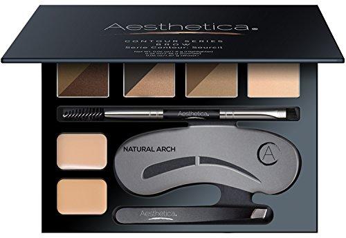 Aesthetica - Aesthetica Brow Contour Kit - 16-Piece Eyebrow Makeup Palette - 6 Brow Powders, 5 Brow Stencils, Spoolie/Brush Duo, Tweezers, Brow Wax, Highlighter, Concealer & Instructions