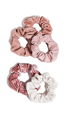 Kitsch - Velvet Hair Scrunchies for Women- 5 pack Velvet Scrunchie for Ponytails, Braids and Buns (Pastel/Blush/Mauve)