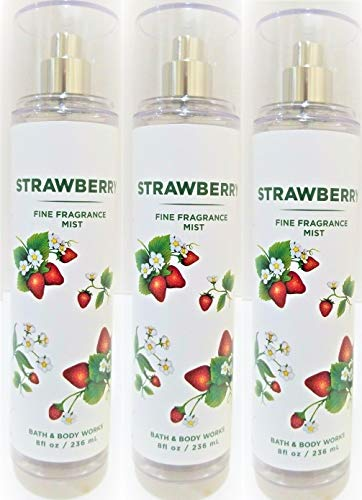 B & Body Works - Bath and Body Works Strawberry Fine Fragrance Mist 8 Ounce Full Size White Label Summer 2020