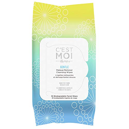 C'Est Moi - C'est Moi Gentle Makeup Remover Cleansing Wipes   Organic Aloe, Glycerin, Green Tea and Cucumber Extract Biodegradable Facial Wipes, Fragrance Free, Gentle Cleanser, 30 Biodegradable Wipes