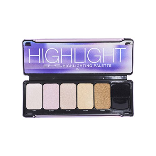 Bys - BYS Highlight Palette with Contour Brush and Mirror- Glam, Glisten, Gleam, Golden, Glimmer Makeup Palette Kit Set