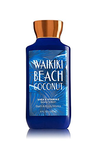 Bath & Body Works - Bath and Body Works Shea Vitamin E Lotion Waikiki Beach Coconut 8 Ounce Full Size 2017 Dark Blue Packaging