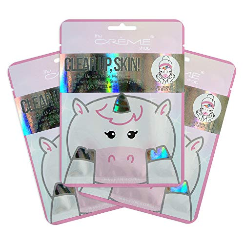 The Creme Shop - The Crème Shop - Clear up, Skin! Unicorn Face Mask - Infused with Clarifying Strawberry Milk - 3 Piece Set