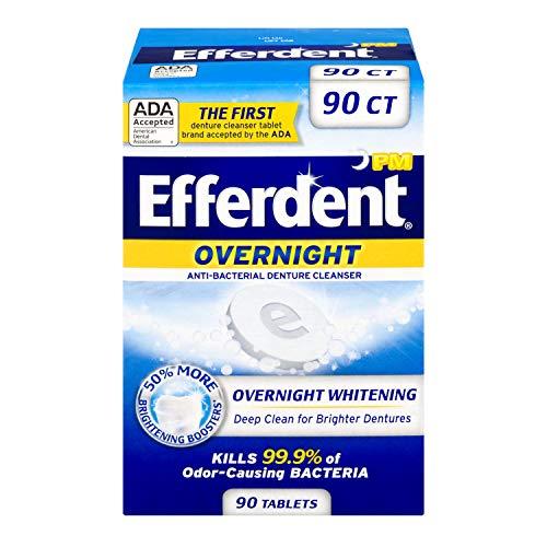 Efferdent - Efferdent PM Overnight Anti-Bacterial Denture Cleanser Tablets | 90 Count | Overnight Deep Cleans Dentures