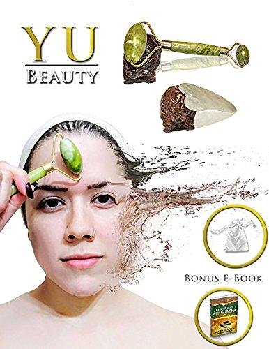 Yu Beauty - Jade Roller & Gua Sha Face Tool Massage Set | Dual Quartz Stone Facial Chi Massager By Yu Beauty