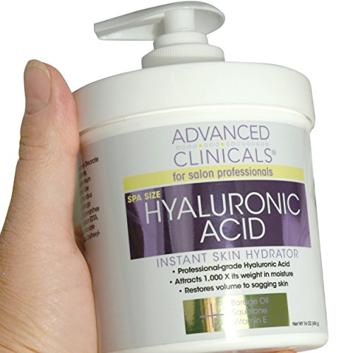Advanced Clinicals - Advanced Clinicals Anti-aging Hyaluronic Acid Cream for face, body, hands. Instant hydration for skin, spa size. (16oz)