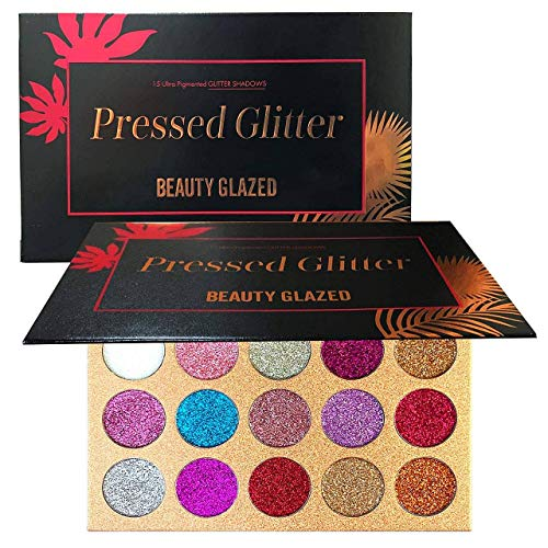Beauty Glazed - Beauty Glazed Pigmented 15 Colors Glitter Eyeshadow Palette Shiny Mineral Pressed Powder Eyes Long Stay On Make Up Eye Shadow Shimmer Palettes