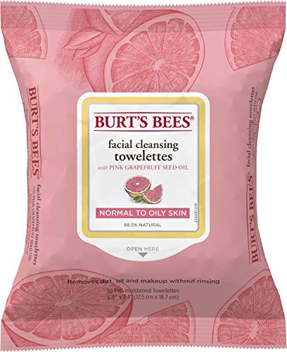 Burts Bees - Burt's Bees Sensitive Facial Cleansing Towelettes with Pink Grapefruit - 30 Count (Pack of 3)