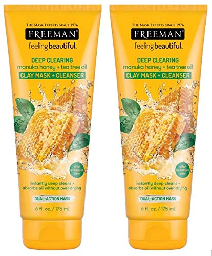 Freeman Manuka Clay Mask and Cleanser, Honey and Tea Tree