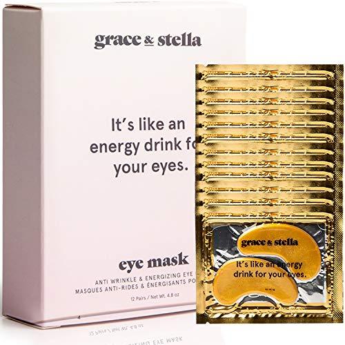 Grace & stella co. - Grace & Stella Anti-Wrinkle + Energizing Gold Collagen Eye Masks | Depuffing Undereye Patches | Vegan & All-Natural (12 Pairs)