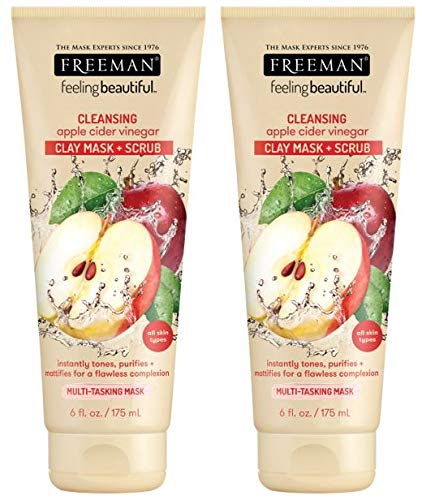 Freeman - Freeman Cleansing Clay Facial Mask and Scrub, Oil Absorbing and Exfoliating Beauty Face Mask and Foaming Scrub with Apple Cider Vinegar, 6 oz, 2 Pack