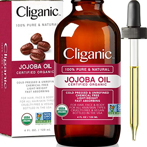 Cliganic - USDA Organic Jojoba Oil, 100% Pure (4oz Large) | Natural Cold Pressed Unrefined Hexane Free Oil for Hair & Face | Carrier Oil - Certified Organic | Cliganic 90 Days Warranty
