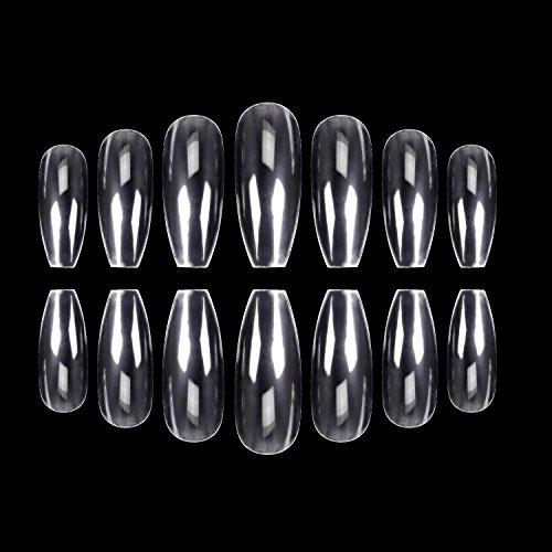 Ecbasket - ECBASKET 500PCS Coffin Nails Clear Ballerina Nail Tips Perfect Length Acrylic Nails Full Cover False Artificial Nails 10 Sizes For Nail Salons or DIY Nail Art At Home