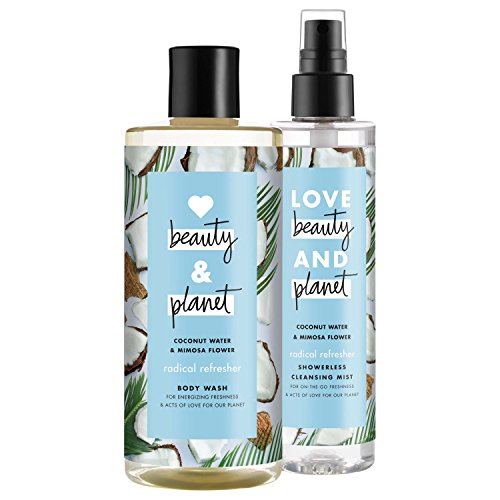 Love, Beauty & Planet - Love Beauty And Planet Radical Refresher Body Wash and Cleansing Mist, Coconut Water & Mimosa Flower, 16 oz and 6.7 oz