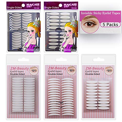 ZMBeauty - 5 Packs Natural Invisible Single/Double Side Eyelid Tapes Stickers, Medical-use Fiber Eyelid Strips, Instant lift Eye Lid Without Surgery, Perfect for Hooded, Droopy, Uneven, Mono-eyelids