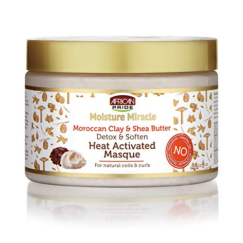African Pride - African Pride Moisture Miracle Moroccan Clay & Shea Butter Heat Activated Masque - For Natural Coils & Curls, Detoxes & Softens, Removes Impurities & Product Build-Up from Hair 12 oz