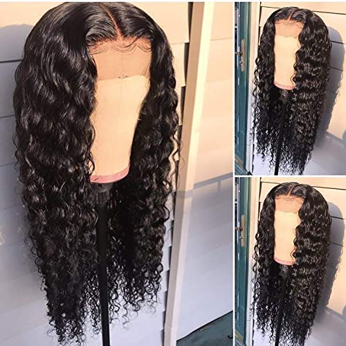 Helene Virgin Hair - Glueless Lace Front Wigs Long Narural Curly High Density Synthetic Lace Wigs For Women With Baby Hair Natural Hairline Realistic Looking Heat Resistant Fiber Hair Wig Half Hand Tied 20inch