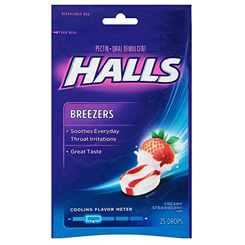 Halls - Halls Breezers Drops Cool Creamy Strawberry 25 ea (Pack of 4)