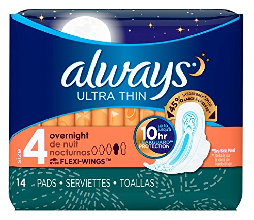 Always Ultra Thin Feminine Pads, Size 4, Overnight Absorbency
