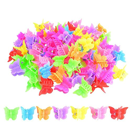 Bantoye - 100 Packs Assorted Color Butterfly Hair Clips, Bantoye Girls Beautiful Mini Butterfly Hair Clips Hair Accessories for Girls and Women, Random Color