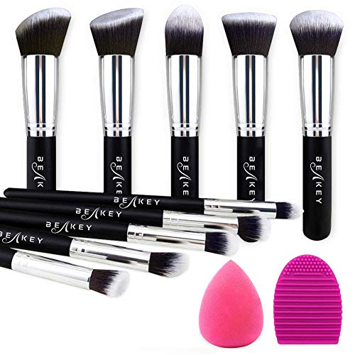 Beakey - BEAKEY Makeup Brush Set, Premium Synthetic Kabuki Foundation Face Powder Blush Eyeshadow Brushes Makeup Brush Kit with Blender Sponge and Brush Cleaner (10+2pcs, Black/Silver)