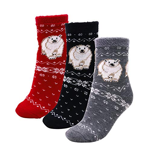 American Mammoth - 3 Pairs Cozy Cabin Socks for Women - Aloe Infused Moisturizing Fuzzy Fluffy Soft Holiday Christmas