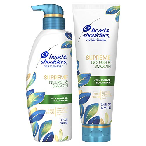 Head & shoulders - Head & Shoulders Supreme, Scalp Care and Dandruff Treatment Shampoo and Conditioner Bundle, with Argan Oil and Jojoba, Nourish and Smooth Hair and Scalp, 11.8 Fl Oz, Jojoba Shampoo and Conditioner