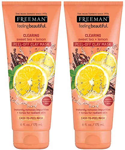 Freeman - Freeman Clearing Peel Off Clay Facial Mask, Cleansing and Oil Absorbing Beauty Face Mask with Sweet Tea and Lemon, 6 oz, 2 Pack