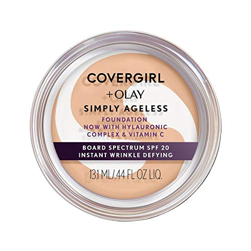 Covergirl - COVERGIRL & Olay Simply Ageless Instant Wrinkle Defying Foundation Buff Beige 0.4 Ounce Pot, Foundation Plus Titanium Dioxide Sunscreen (packaging may vary)
